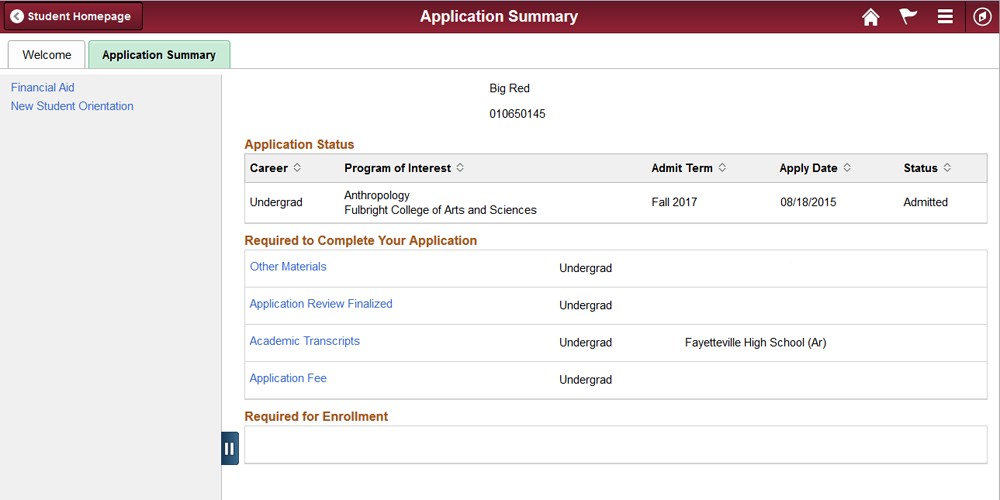 Screenshot of Application Summary screen