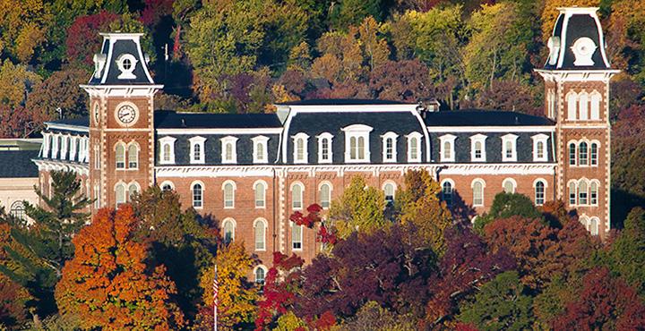 Photo of the Old Main building on the University of Arkansas campus.