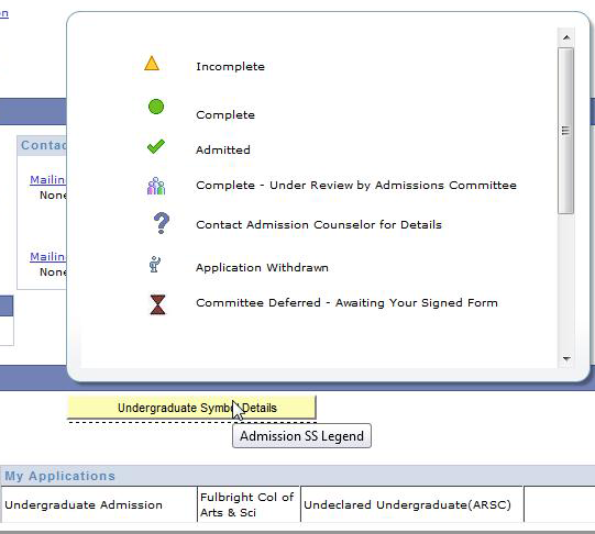 Screenshot of the Application Status key in UAConnect